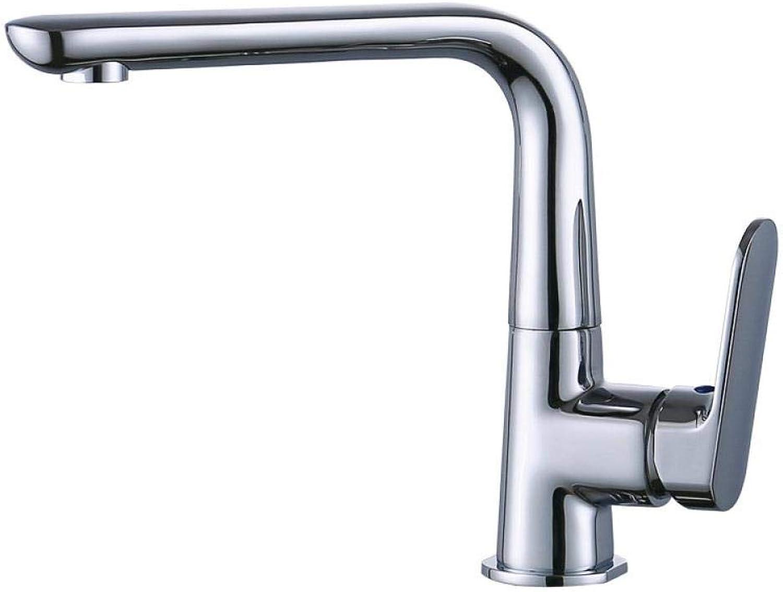 Wasserhhne Waschtischarmaturen Vollkupfer Verchromt Kurze Sieben-Wort Flache Größe Küchenarmatur 360 Drehbaren Einhebel-Wasser-Mischküchenarmatur