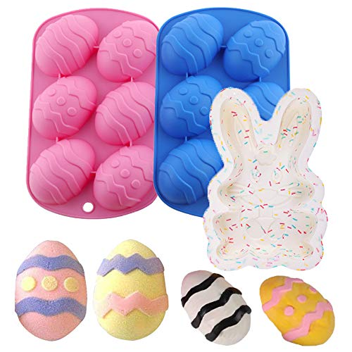 Six Eggs Easter Silicone Cake Mould, Easter Egg Shape Silicone Treat Mold, Easter Silicone Bunny Cake Mold, for Chocolate, Candy, Baking Muffin, Cupcake, Jello, Soap, Ice Cube