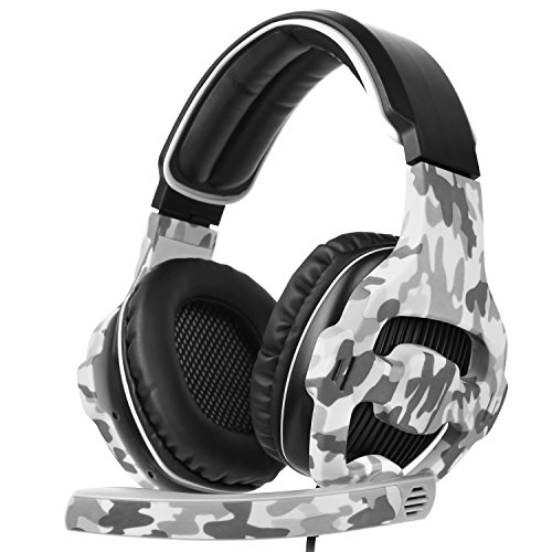 SADES SA810 Gaming Headset Stereo Surround Sound Kopfhörer für Xbox One / PS4 / PC/Mac mit 3,5 mm Klinke Noise Cancelling Mic & Lautstärkeregler & Soft Earpads (Schwarz und Camouflage)