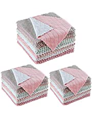 20Pcs 2-sided Kitchen Cloth Fast Dry Dish Towels Super Absorbent Coral Velvet Dishcloth Random Color, 16x27cm