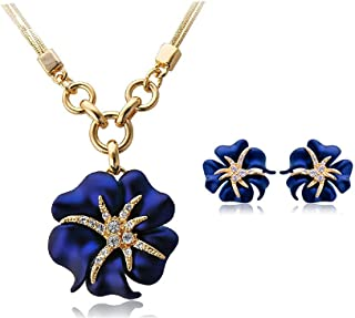18K gold plated blue flower Crystal jewelry sets 2 pieces necklace earrings for Women's best gift