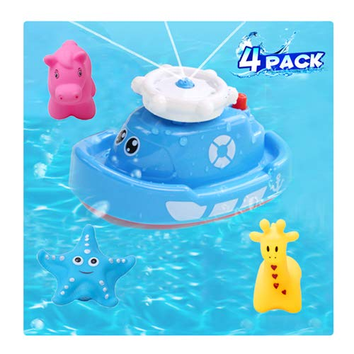 HAOMARK Bath Bathtub Water Squirt Toy Sprinkler Boat and Floating Rubber Animal Interactive Toys 4 Pack for Toddlers Baby
