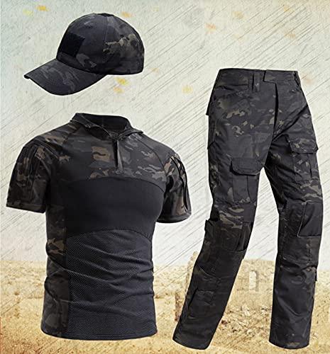 QWET Traje táctico para Hombre, Camisa y Pantalones de Combate, Conjunto de Manga Larga, Ripstop, Multicam, Ropa Airsoft, Uniforme Militar de Caza en el Bosque,Negro,L