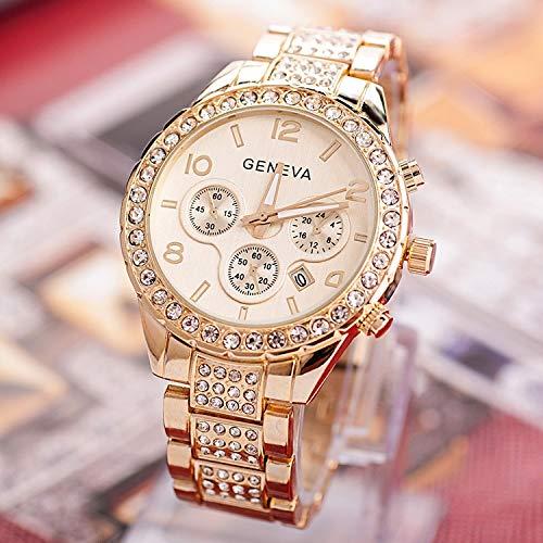 ZWH Reloj de Pulsera de Acero Inoxidable Exquisita Mujeres del Reloj del Rhinestone de Lujo Ocasionales de Reloj de Cuarzo Relojes Mujer 2020 876 (Color : Gold)