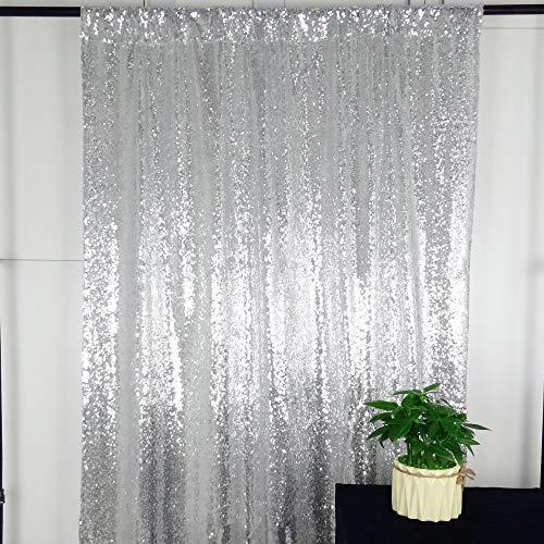HeMiaor 1,2x 2,4m Mariage Argenté à Paillettes Rideaux Fond, Silver, 4x8ft