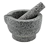 Granite Mortar and Pestle Set – Guacamole Bowl Traditional Molcajete, Large 15Fl Oz 2 Cup Capacity, Natural Stone Grinder with Pouring Spout + Bonus Recipe Ebook, Anti Slip Pad, Organic Cleaning Brush