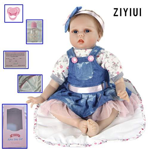 ZIYIUI 55 cm 22 Pulgadas Muñeca Bebé Reborn Niña Hecho a Mano Vinilo de Silicona Suave Ojos Abiertos Reborn Doll Girl Realiista Bebé Recién Nacido Chica Juguete
