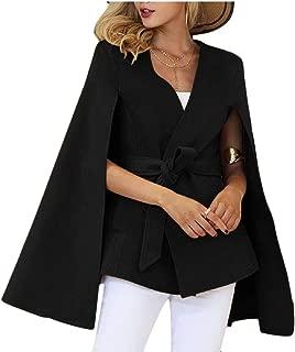 Womens Solid Color Long-Sleeve Woolen Cardigan Sexy Split Cuffs Cloak Outwear Coat