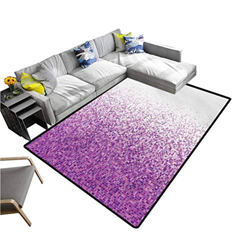 Magenta Modern Indoor Rugs Computer Art Style Tile Mosaic Squared Complex Pixel Party Mix Artistic Concept Office Floor Mats for Carpet Purple White (4'x6')