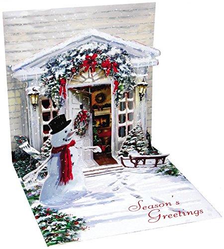 Pop Up Christmas Card - Tarjeta de felicitación navideña desplegable en 3D, diseño de muñeco de nieve