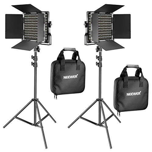 Neewer 2 Pieces Bi-color 660 LED Video Light and Stand Kit Includes:(2)3200-5600K...