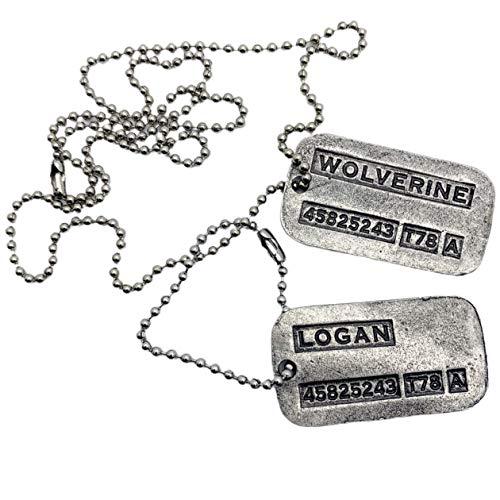 """Logan Militär-Erkennungsmarken """"Wolverine"""" – Film-Kostüm, Cosplay-Requisite – Edelstahlketten und Schalldämpfer im Lieferumfang enthalten"""