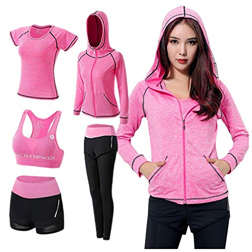 Dasongff 5PCS Yoga Clothing Suit Set Tracksuit Running Gym Winter Fitness Sport Jogging Anzug