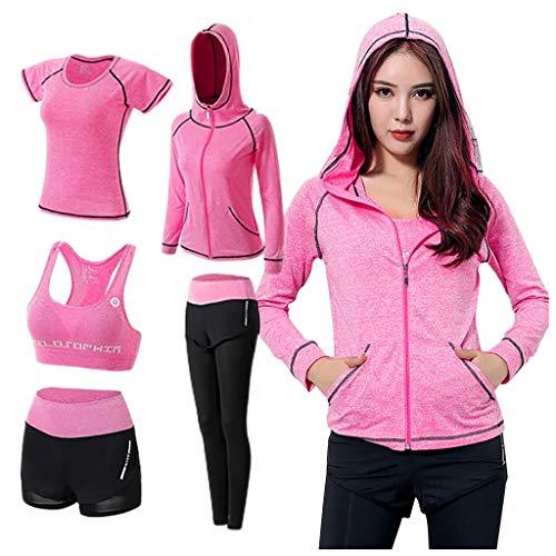 Dasongff 5PCS Yoga Clothing Suit Set Tracksuit Running Gym Winter Fitness Sport Jogging Anzug