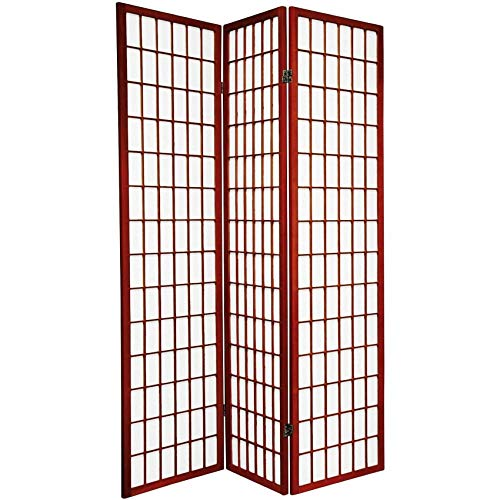 Legacy Decor Japanese Oriental Style Room Screen Divider, 3 Panels, Cherry Color
