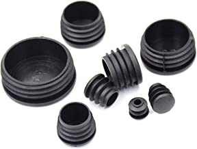 80 Pieces Mixed Sizes Black Round Plastic Plugs, Glide Insert End Caps for Chair Table Stool Leg, Tube Pipe Hole Plug Assortment