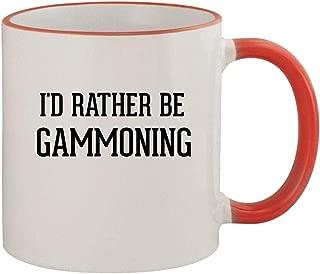 I'd Rather Be GAMMONING - 11oz Ceramic Colored Rim & Handle Coffee Mug, Red