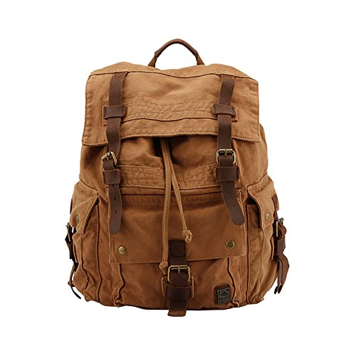 VRIKOO Retro Canvas Casual Daypacks Leather Trim Hiking Travel Backpack Unisex Shoulder Bag Schoolbags (Brown)