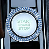 LivTee 1 PCS Crystal Double Rhinestone Car Engine Start Stop Decoration Ring, Bling car Accessories, Push to Start Button, Key Ignition & Knob Bling Ring, Light Blue