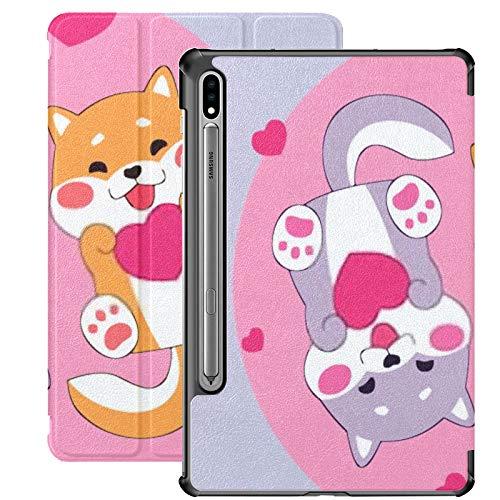 Funda Galaxy Tablet S7 Plus de 12,4 Pulgadas 2020 con Soporte para bolígrafo S, Linda Pareja de Perros Shiba Inu Love Funda Protectora Delgada con Soporte para Samsung