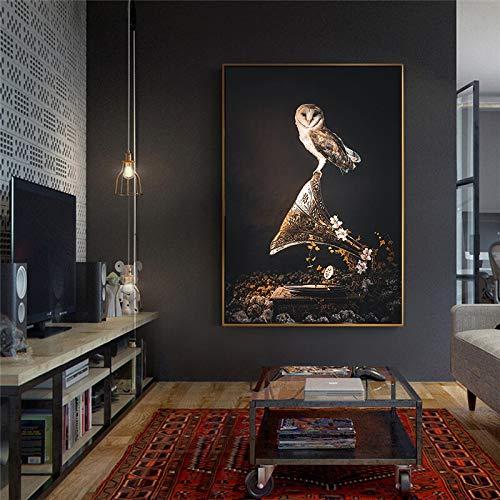 Douwert Pintura de Arte Moderno búho escandinavo Cartel de Animal Lienzo impresión decoración de Sala de Estar Cuadros de Pared sin Marco 60x90cm