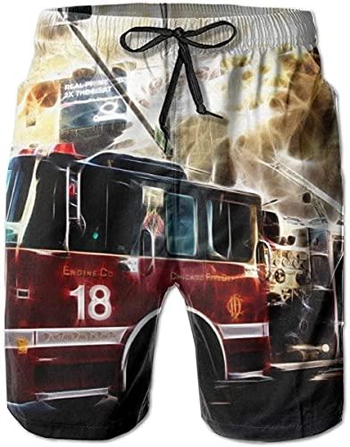 Badehose Summer Beach Shorts Taschen Boardshorts für Männer Jugend Jungen Feuerwehrmann Feuerwehr Feuerwehr Flaggen-Feuerwehrauto Hintergrund, XXL