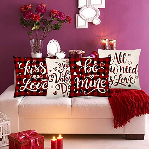 Sofa Cushion Covers - 4Pack of Valentine's Day Throw Pillow Case Cushions for Sofa Living Room Bed Couch Square Pillowcase, Valentines Pillow Covers, Cotton Linen Sweet Heart Pillowcases (4PCs)
