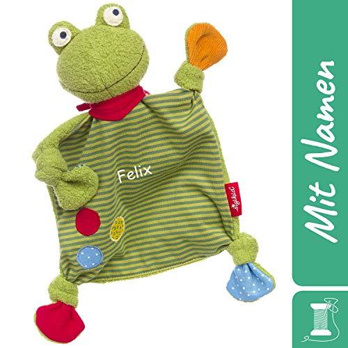 Sigikid Schnuffeltuch Frosch mit Namen Bestickt, Baby & Kinder Schmusetuch personalisiert, Kuscheltuch Geschenkidee Mädchen / Jungen, Flecken Frog, Grün / Bunt, 39148