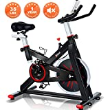 Trya Indoor Cycling Bike Stationary - Spin Bike with 35 LB Chromed Flywheel, Silent Belt Drive, Ipad Mount & Comfortable Seat Cushion for Home Workout