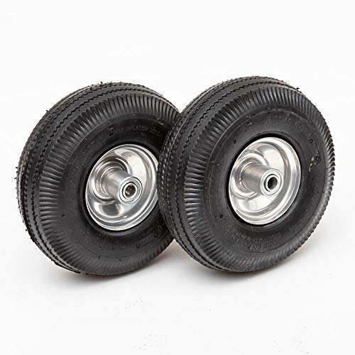 Lapp Wheels Pneumatic 4.10/3.50-4 Tire, Wagon/Utility cart/Hand Truck Replacement, Gray, Set of Two