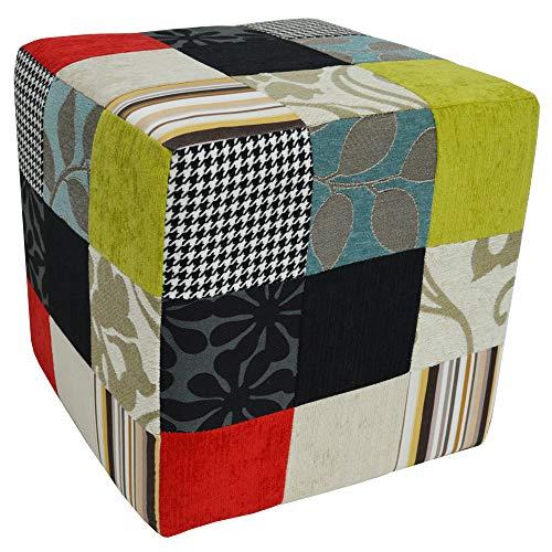 Plush Patchwork - kruk poef/poef - blauw/groen/rood