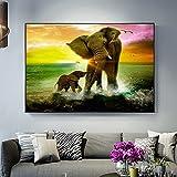 Yegnalo Familia de Elefantes Arte Animal Lienzo Pintura Cartel Arte de la Pared Sala de Estar decoración del hogar al Atardecer