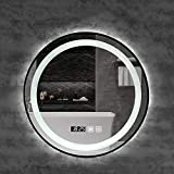 Espejo, Marco de Aluminio Negro Espejo de Maquillaje LED de Baño Redondo...