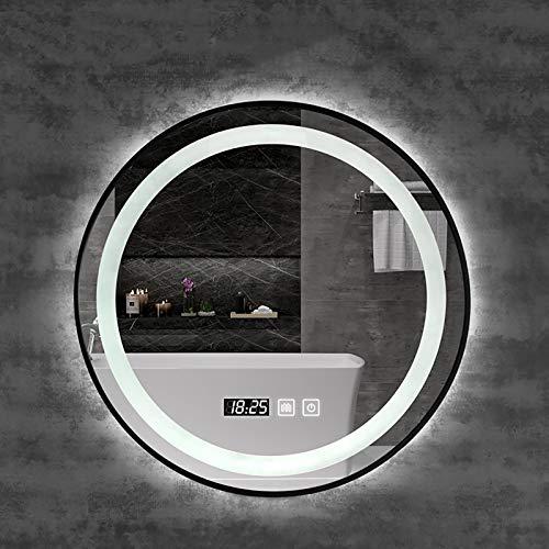 Espejo, Marco de Aluminio Negro Espejo de Maquillaje LED de Baño Redondo Moderno con Interruptor Táctil Regulable, Espejo LED Antiniebla con Iluminación Inteligente Espejo de Tocador