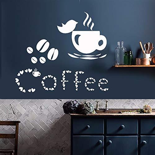 Kaffeetasse Küche Wandaufkleber Liebhaber Vogel Haus Dekoration Kaffee Bohnen Home Dekoration Kunst Poster Wandbild decal42X37CM
