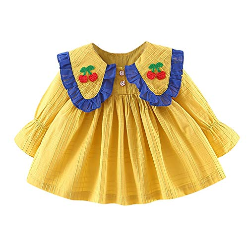 Baywell Children Summer Girls Cute Cherry Round Collar Solid Color Bottoming Long Sleeved Sweet Princess Dress