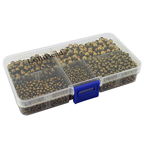 LolliBeads (R) Schmuckperlen, runde Abstandhalter-Perlen aus Metall, metall, Bronze 2100 Pcs Mixed Size, Assorted
