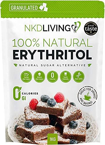 Eritritol 100 % natural 1 kg   Granulado sustituto del azúcar con cero calorías
