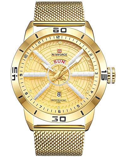 Naviforce - NF9155 - Orologio da polso al quarzo analogico moda uomo, cinturino in metallo, impermeabile (Cinturino: oro/indice: oro)