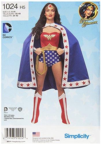 Simplicity Pattern 1024 H5 (6-8-10-12-14) Women's Wonder Woman Costume,...
