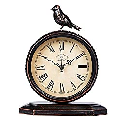 SHISEDECO Vintage Cottage Metal Table Clock with Bird, Retro Mantel/European Wrought Iron Metal Industrial Quartz Desk & Shelf Clock (D)