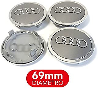4 tapones tapacubos Audi 69 mm A3 A4 A5 A6 A7 TT Q3 Q5 Q7 Círculos
