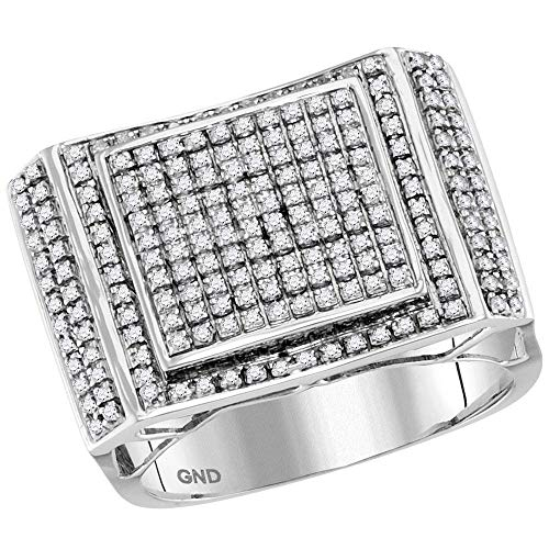 Diamond2Deal Hombre Mujer Unisex 417 Gold oro blanco de 10 quilates round-shape IJ Diamante blanco