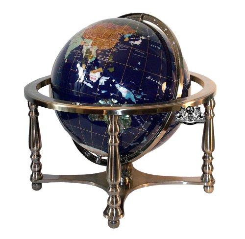 10 Inch Tall Table Top Blue Lapis Ocean Gemstone World Globe Tripod Stand