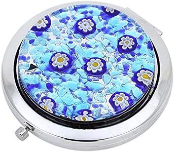 GlassOfVenice Espejo compacto plegable de cristal de Murano, color azul