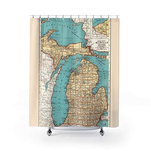 Ad4ssdu4 Michigan Duschvorhang Landkarte von Michigan
