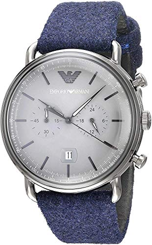Emporio Armani Herren Chronograph Quarz Uhr mit Stoff Armband AR11144