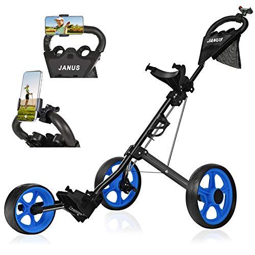 JANUS Golf Push Cart Golf cart for Golf Clubs Golf Pull cart for Golf Bag Golf Push carts 3 Wheel Folding Golf Accessories for Men Women/Kids Practice and Game
