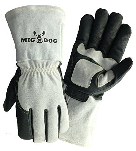 Galeton 12472-XL 12472 MIG-DogUltra-Premium Welding Gloves, Grain Leather Palm, Fully Cotton Lined, X-Large, Gray (1 Pair)