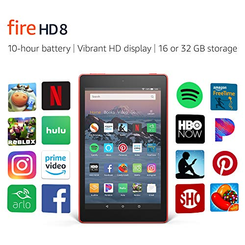 Certified Refurbished Fire HD 8 Tablet (8' HD Display, 32 GB) - Red (Previous Generation - 8th)